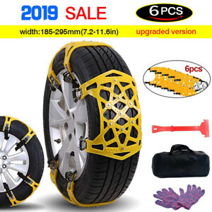6pcs Universal Snow Tire Chains Of Car Suv Thickened Anti skid Emergency Strap S