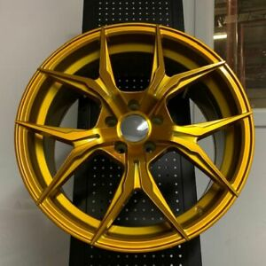 4 New Set 19 Rex Style Gold Concave Staggered Wheels Rims 5x114 3