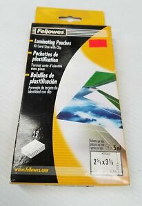 Fellowes Laminating Pouches For 25 Id Card Size With Clip New