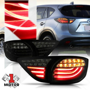 Black smoked tron Led Bar 3d Neon Tail Light Brake Lamp For 13 16 Mazda Cx 5