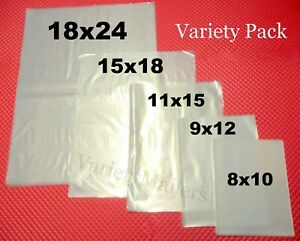 100 Clear Plastic Merchandise Bag Variety Pack 5 Sizes 1 5 Mil Quality