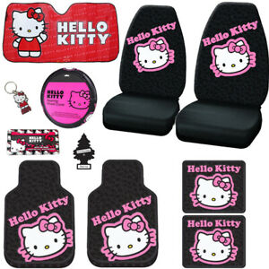 For Kia Hello Kitty Car Truck Seat Steering Covers Mats Accessories Set 11pc