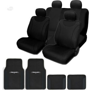 For Toyota New Black Flat Cloth Car Truck Seat Covers With Mats Set