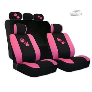 For Hyundai Car Seat Covers With Pink Paws Logo Set Tone Front And Rear New