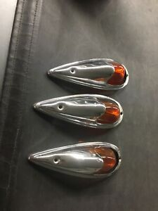 Do Ray 410 Vintage Marker Clearance Lights Amber Glass Set Of Three