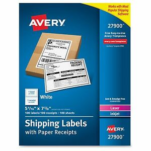 Avery Paper Receipt White Shipping Labels Permanent Adhesive 100 Label s