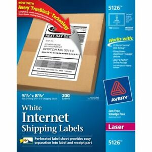 Avery Shipping Label 5 50 Width X 8 50 Length 200 Box Rectangle