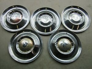 Vintage Set Of 5 Pontiac Mercury 1954 1955 15 Hubcaps