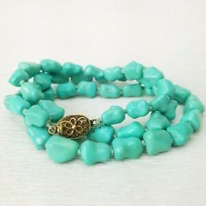 Vtg Chinese Turquoise Blue Knuckle Bead Knotted Necklace Silver Filigree Clasp