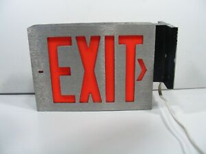Vintage Lighted Metal Glass Exit Sign Aluminium Display Or Man Cave
