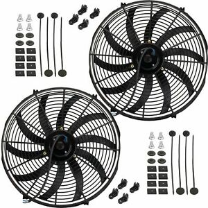 Dual 17 Inch Electric Engine Radiator Fan Reversible Cooling 12 Volt Heavy Duty