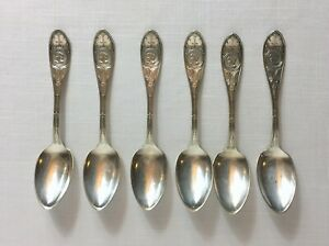 Set Of 6 Hall Elton Medallion Teaspoons Silver Plate 1867 6 Antique Teaspoons