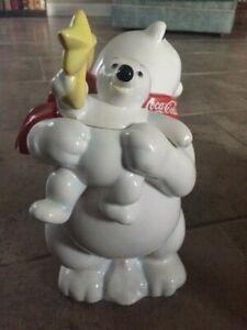 Coca Cola cookie jar with Polar Bear and baby with yellow star