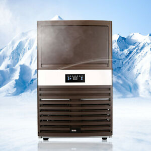 Commercial Ice Maker Built in 130lb Ice Cube Machine Stainless Steel Restaurant