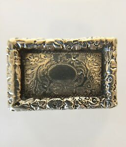 Antique Sterling Silver Gilded Interior English Thick Floral Rim Snuff Box