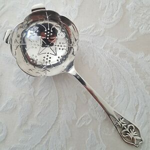 1 Sheffield England Sterling Over Cup Pierced Handle Tea Strainer Solid 1961