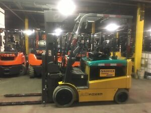 Komatsu 5000 Lb Electric Forklift With Quad Mast And Side Shift Only 3000 Hours