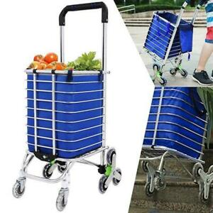 8 Wheels Aluminum Portable Folding Stair Shopping Cart With 16 9x12x11 4 Bag Us