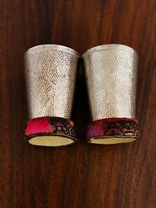 2 Chinese Export Sterling Silver Hand Hammered Shot Glasses With Coasters