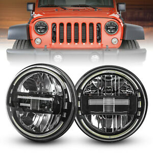Pair Dot 7 Inch Round Led Headlights Black For Jeep Wrangler Jk Tj Cj Jl 97 2018