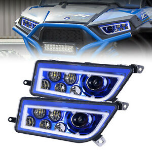 Pair Blue Halo Led Headlight For 2014 2017 Polaris General Rzr 1000 900 Xp Turbo