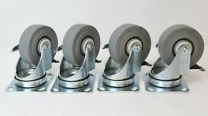 Lot Of 4 Colson 4 X 1 1 2 Locking Caster With Rubber Wheel