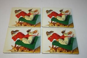 Coca Cola Coasters - Santa Kicking Back in Chair w/ a Coke & Reindeer - Set of 4