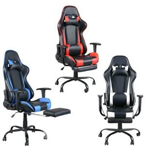 Ergonomic Computer Gaming Chair With Footrest Office Gaming Racing Recliner
