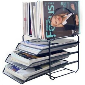 Home And Office Desk File Organizer Magazine Sorter 3 tier Letter Tray Black