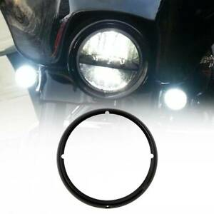 Black 7 Headlight Trim Ring Fit For Harley Touring Road King Street Tri Glide