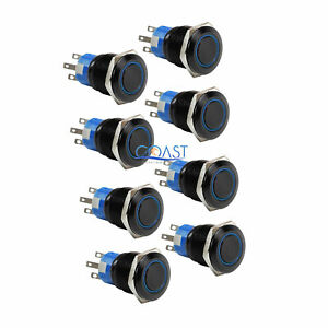 8x Durable 12v 19mm Car Push Button Blue Angel Eye Led Momentary Light Switch