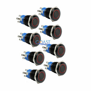 8x Durable 12v 19mm Car Push Button Red Angel Eye Led Momentary Light Switch
