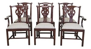 31392ec Set Of 6 Henkel Harris Model 101 Chippendale Dining Room Chairs