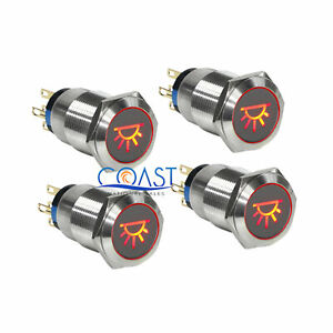4x Durable 12v 19mm Car Push Latching Button Red Dome Light Led Metal Switch