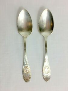 Set Of 2 Hall Elton Medallion Tablespoons Silver Plate 1867 8 Large Spoons