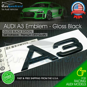 Audi A3 Gloss Black Emblem 3d Badge Rear Trunk Lid For S Line Logo Nameplate
