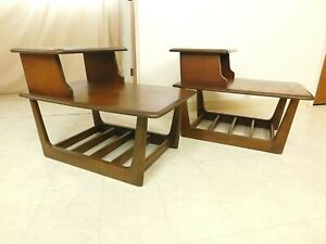 Pair D1971 Mid Century Modern Floating Surfboard Burl Walnut Step End Mag Tables