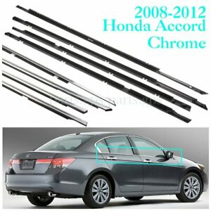 4x Weatherstrip Window Seal Belt Trim Black Chrome For Honda Accord 2009 2012