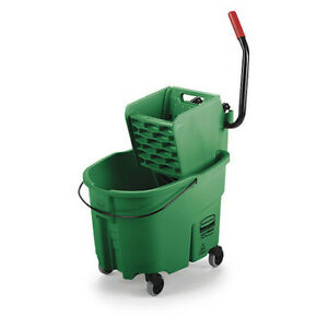 Rubbermaid Fg758888grn Wavebrake Mop Bucket And Wringer 8 75 Gal green