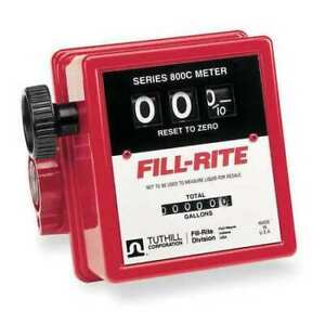 Fill rite 807cn1 3 wheel Nickel plated Mechanical Fuel Transfer Meter 5 20 Gpm