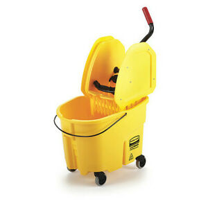 Rubbermaid Fg757788yel 35qt Yellow Down Press Mop Bucket And Wringer