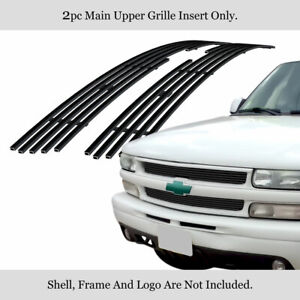 Fits 1999 2002 Chevy Silverado 1500 2500 3500 Main Stainless Black Billet Grille