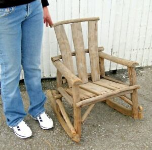Primitive Antique Wooden Log Tree Branch Child S Rocking Chair Rustic Country