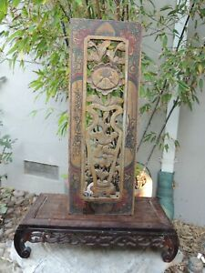 A6 Antique Carved Gold Gilt Wood Panel With Vase And Flower