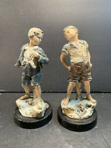 Carl Kauba Vintage Handpainted Signed Metal Angry Boys Sculptures Statues H 7