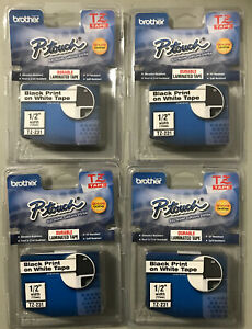 Set Of 4 New Oem Brother P touch Tz 231 1 2 Black Ink On White Tape sealed Pkgs