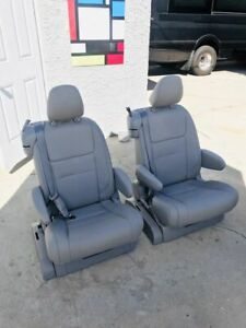 Pair Of Gray Leather Reclining Captain Seats W Seatbelt Rv Bus Sprinter Van
