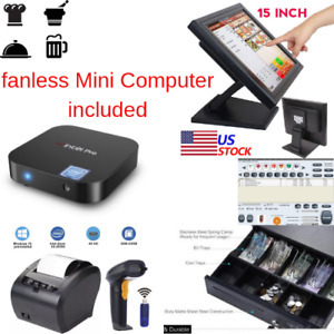 New Mini Fanless Pc 1 X 80mm Printer Pos Point Sale System Combo Retail
