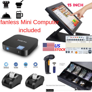 New Mini Fanless Pc 2 X Printers Pos Point Of Sale System Combo Kit Retail