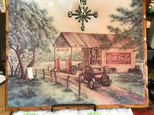 COCA-COLA CLOCK ON HIGHLY LACQUERED WOOD--WORKS WELL-----------------cs